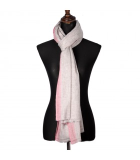 Natural Nepali Cashmere Shawls With Soft Pink Border