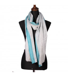 Natural Cashmere Shawls with Petrol-Blue Border
