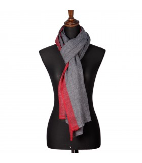 Natural Cashmere Shawls With Light Red Border